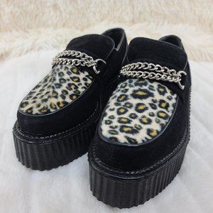 2 Inch Platform Creeper With Faux Leopard Fur